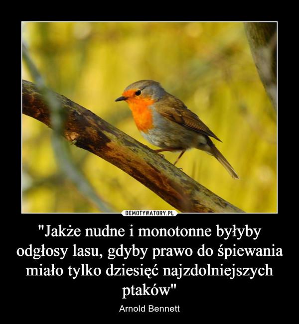 """""""Jakże nudne i monotonne byłyby odgłosy lasu, gdyby prawo do śpiewania miało tylko dziesięć najzdolniejszych ptaków"""" – Arnold Bennett"""