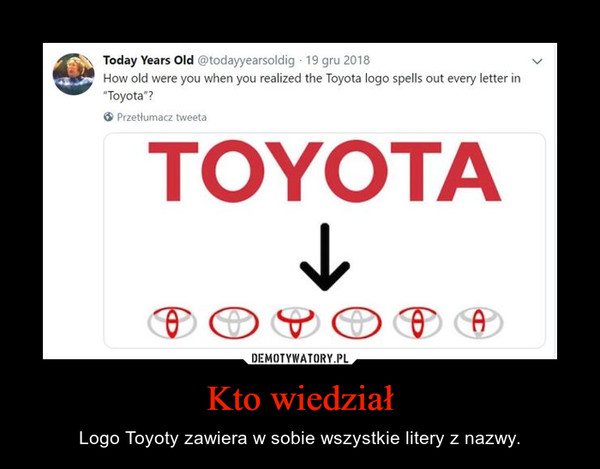 Kto wiedział – Logo Toyoty zawiera w sobie wszystkie litery z nazwy.