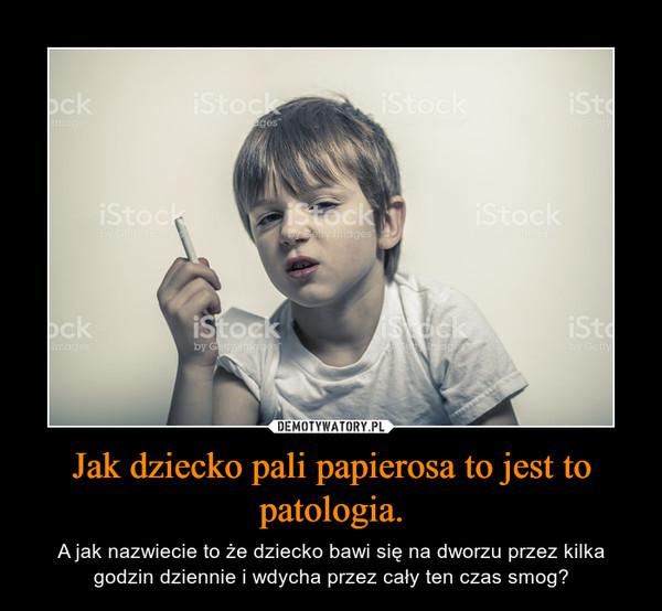 Jak dziecko pali papierosa to jest to patologia. – A jak nazwiecie to że dziecko bawi się na dworzu przez kilka godzin dziennie i wdycha przez cały ten czas smog?
