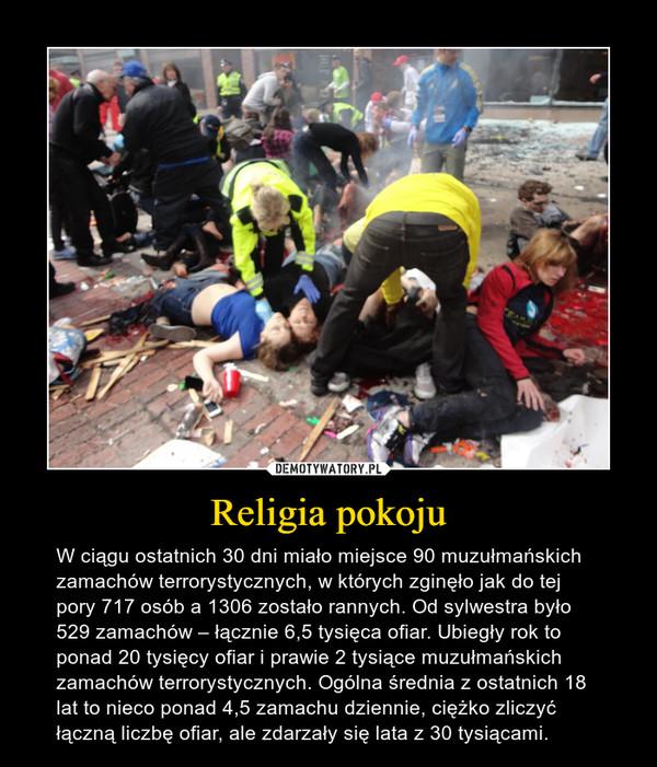 Religia pokoju – W ciągu ostatnich 30 dni miało miejsce 90 muzułmańskich zamachów terrorystycznych, w których zginęło jak do tej pory 717 osób a 1306 zostało rannych. Od sylwestra było 529 zamachów – łącznie 6,5 tysięca ofiar. Ubiegły rok to ponad 20 tysięcy ofiar i prawie 2 tysiące muzułmańskich zamachów terrorystycznych. Ogólna średnia z ostatnich 18 lat to nieco ponad 4,5 zamachu dziennie, ciężko zliczyć łączną liczbę ofiar, ale zdarzały się lata z 30 tysiącami.