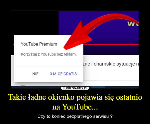 Takie ładne okienko pojawia się ostatnio na YouTube... – Czy to koniec bezpłatnego serwisu ?