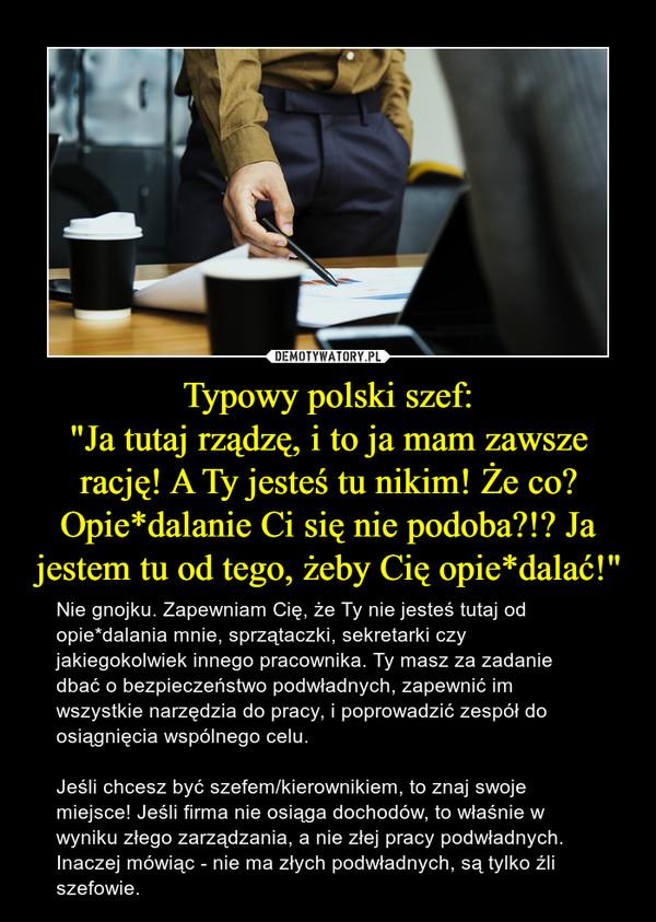 """Typowy polski szef:""""Ja tutaj rządzę, i to ja mam zawsze rację! A Ty jesteś tu nikim! Że co? Opie*dalanie Ci się nie podoba?!? Ja jestem tu od tego, żeby Cię opie*dalać!"""" – Nie gnojku. Zapewniam Cię, że Ty nie jesteś tutaj od opie*dalania mnie, sprzątaczki, sekretarki czy jakiegokolwiek innego pracownika. Ty masz za zadanie dbać o bezpieczeństwo podwładnych, zapewnić im wszystkie narzędzia do pracy, i poprowadzić zespół do osiągnięcia wspólnego celu.Jeśli chcesz być szefem/kierownikiem, to znaj swoje miejsce! Jeśli firma nie osiąga dochodów, to właśnie w wyniku złego zarządzania, a nie złej pracy podwładnych. Inaczej mówiąc - nie ma złych podwładnych, są tylko źli szefowie."""