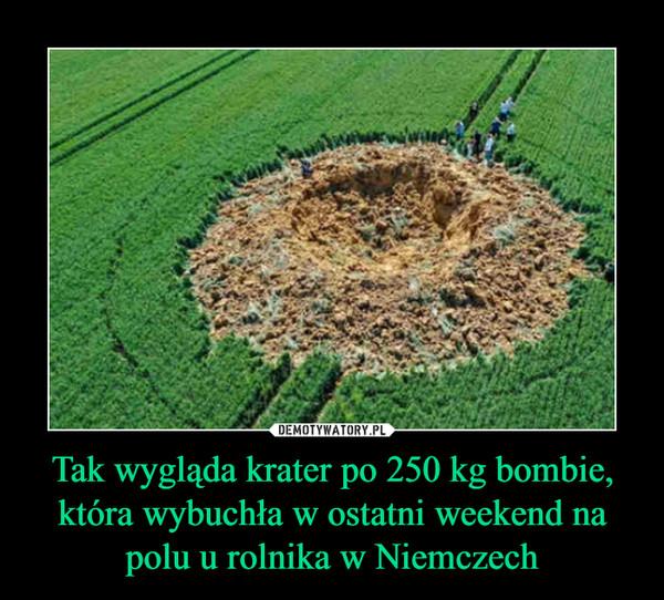 Tak wygląda krater po 250 kg bombie, która wybuchła w ostatni weekend na polu u rolnika w Niemczech –