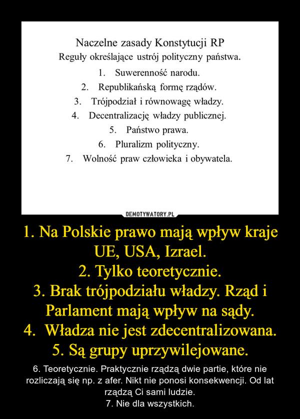 1. Na Polskie prawo mają wpływ kraje UE, USA, Izrael.2. Tylko teoretycznie.3. Brak trójpodziału władzy. Rząd i Parlament mają wpływ na sądy.4.  Władza nie jest zdecentralizowana.5. Są grupy uprzywilejowane. – 6. Teoretycznie. Praktycznie rządzą dwie partie, które nie rozliczają się np. z afer. Nikt nie ponosi konsekwencji. Od lat rządzą Ci sami ludzie.7. Nie dla wszystkich.