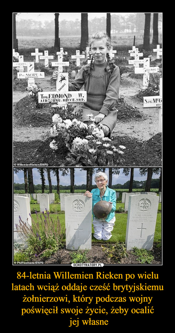 84-letnia Willemien Rieken po wielu latach wciąż oddaje cześć brytyjskiemu żołnierzowi, który podczas wojny poświęcił swoje życie, żeby ocalić jej własne –