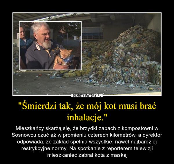 """""""Śmierdzi tak, że mój kot musi brać inhalacje."""" – Mieszkańcy skarżą się, że brzydki zapach z kompostowni w Sosnowcu czuć aż w promieniu czterech kilometrów, a dyrektor odpowiada, że zakład spełnia wszystkie, nawet najbardziej restrykcyjne normy. Na spotkanie z reporterem telewizji mieszkaniec zabrał kota z maską"""