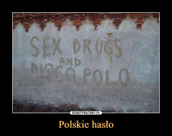 Polskie hasło –  SEX DRUGS AND DISCO POLO