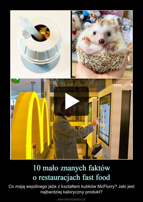 10 mało znanych faktówo restauracjach fast food – Co mają wspólnego jeże z kształtem kubków McFlurry? Jaki jest najbardziej kaloryczny produkt?