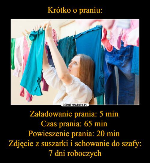 Krótko o praniu: Załadowanie prania: 5 min  Czas prania: 65 min  Powieszenie prania: 20 min  Zdjęcie z suszarki i schowanie do szafy: 7 dni roboczych