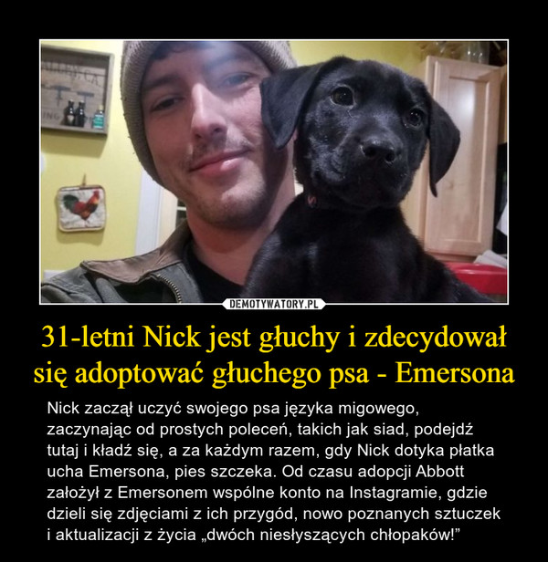 """31-letni Nick jest głuchy i zdecydował się adoptować głuchego psa - Emersona – Nick zaczął uczyć swojego psa języka migowego, zaczynając od prostych poleceń, takich jak siad, podejdź tutaj i kładź się, a za każdym razem, gdy Nick dotyka płatka ucha Emersona, pies szczeka. Od czasu adopcji Abbott założył z Emersonem wspólne konto na Instagramie, gdzie dzieli się zdjęciami z ich przygód, nowo poznanych sztuczek i aktualizacji z życia """"dwóch niesłyszących chłopaków!"""""""