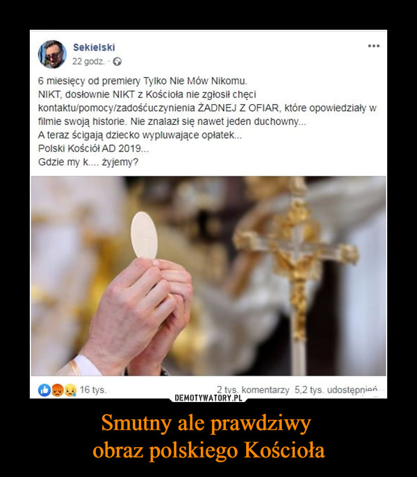 Smutny ale prawdziwy obraz polskiego Kościoła –