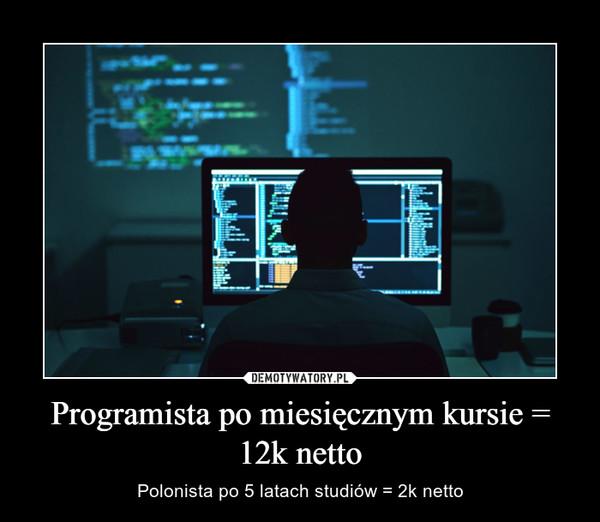 Programista po miesięcznym kursie = 12k netto – Polonista po 5 latach studiów = 2k netto