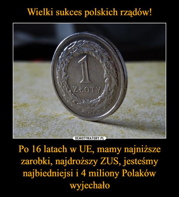Po 16 latach w UE, mamy najniższe zarobki, najdroższy ZUS, jesteśmy najbiedniejsi i 4 miliony Polaków wyjechało –
