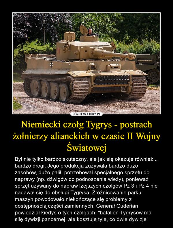 """Niemiecki czołg Tygrys - postrach żołnierzy alianckich w czasie II Wojny Światowej – Był nie tylko bardzo skuteczny, ale jak się okazuje również... bardzo drogi. Jego produkcja zużywała bardzo dużo zasobów, dużo palił, potrzebował specjalnego sprzętu do naprawy (np. dźwigów do podnoszenia wieży), ponieważ sprzęt używany do napraw lżejszych czołgów Pz 3 i Pz 4 nie nadawał się do obsługi Tygrysa. Zróżnicowanie parku maszyn powodowało niekończące się problemy z dostępnością części zamiennych. Generał Guderian powiedział kiedyś o tych czołgach: """"batalion Tygrysów ma siłę dywizji pancernej, ale kosztuje tyle, co dwie dywizje""""."""