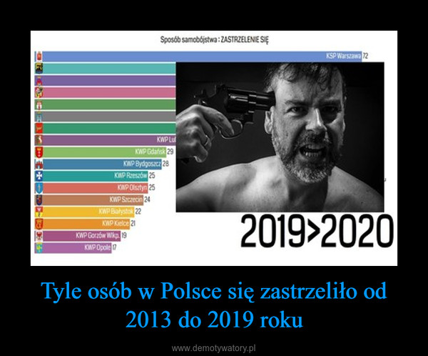 Tyle osób w Polsce się zastrzeliło od 2013 do 2019 roku –