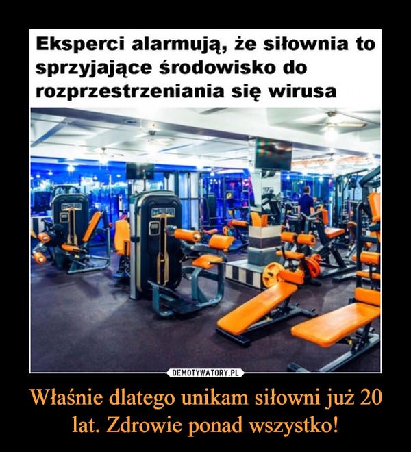 Właśnie dlatego unikam siłowni już 20 lat. Zdrowie ponad wszystko! –  Eksperci alarmują, że siłownia tosprzyjające środowisko dorozprzestrzeniania się wirusa