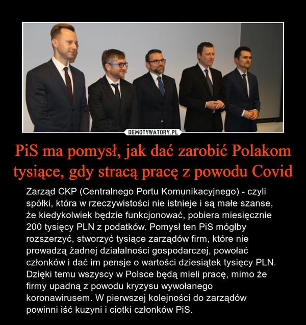 PiS ma pomysł, jak dać zarobić Polakom tysiące, gdy stracą pracę z powodu Covid – Zarząd CKP (Centralnego Portu Komunikacyjnego) - czyli spółki, która w rzeczywistości nie istnieje i są małe szanse, że kiedykolwiek będzie funkcjonować, pobiera miesięcznie 200 tysięcy PLN z podatków. Pomysł ten PiS mógłby rozszerzyć, stworzyć tysiące zarządów firm, które nie prowadzą żadnej działalności gospodarczej, powołać członków i dać im pensje o wartości dziesiątek tysięcy PLN. Dzięki temu wszyscy w Polsce będą mieli pracę, mimo że firmy upadną z powodu kryzysu wywołanego koronawirusem. W pierwszej kolejności do zarządów powinni iść kuzyni i ciotki członków PiS.