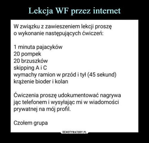 Lekcja WF przez internet
