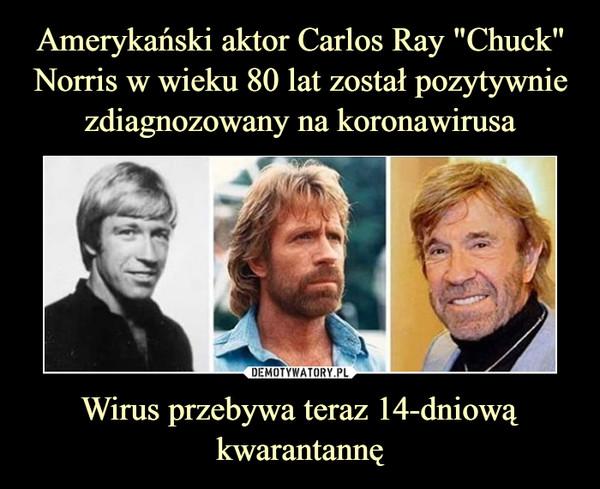 """Amerykański aktor Carlos Ray """"Chuck"""" Norris w wieku 80 lat został pozytywnie zdiagnozowany na koronawirusa Wirus przebywa teraz 14-dniową kwarantannę"""