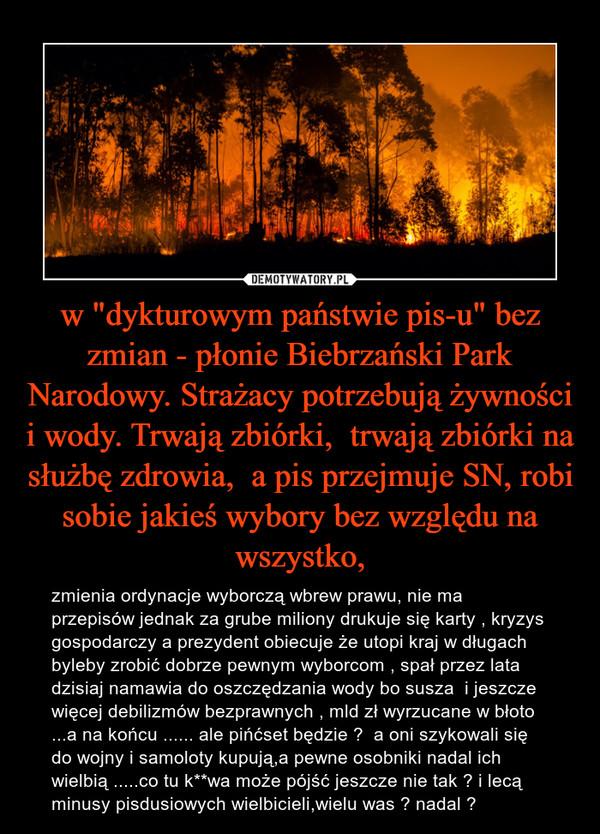 """w """"dykturowym państwie pis-u"""" bez zmian - płonie Biebrzański Park Narodowy. Strażacy potrzebują żywności i wody. Trwają zbiórki,  trwają zbiórki na służbę zdrowia,  a pis przejmuje SN, robi sobie jakieś wybory bez względu na wszystko, – zmienia ordynacje wyborczą wbrew prawu, nie ma przepisów jednak za grube miliony drukuje się karty , kryzys gospodarczy a prezydent obiecuje że utopi kraj w długach byleby zrobić dobrze pewnym wyborcom , spał przez lata dzisiaj namawia do oszczędzania wody bo susza  i jeszcze więcej debilizmów bezprawnych , mld zł wyrzucane w błoto ...a na końcu ...... ale pińćset będzie ?  a oni szykowali się do wojny i samoloty kupują,a pewne osobniki nadal ich wielbią .....co tu k**wa może pójść jeszcze nie tak ? i lecą minusy pisdusiowych wielbicieli,wielu was ? nadal ?"""