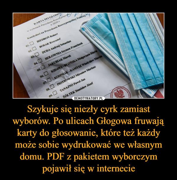 Szykuje się niezły cyrk zamiast wyborów. Po ulicach Głogowa fruwają karty do głosowanie, które też każdy może sobie wydrukować we własnym domu. PDF z pakietem wyborczym pojawił się w internecie –