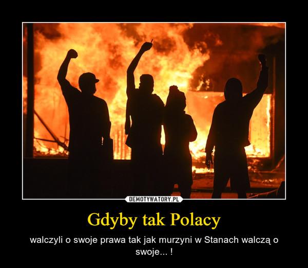 Gdyby tak Polacy – walczyli o swoje prawa tak jak murzyni w Stanach walczą o swoje... !