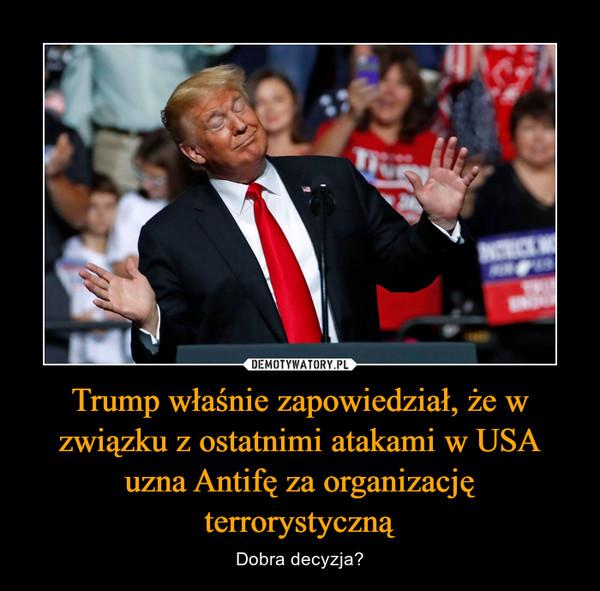 Trump właśnie zapowiedział, że w związku z ostatnimi atakami w USA uzna Antifę za organizację terrorystyczną – Dobra decyzja?