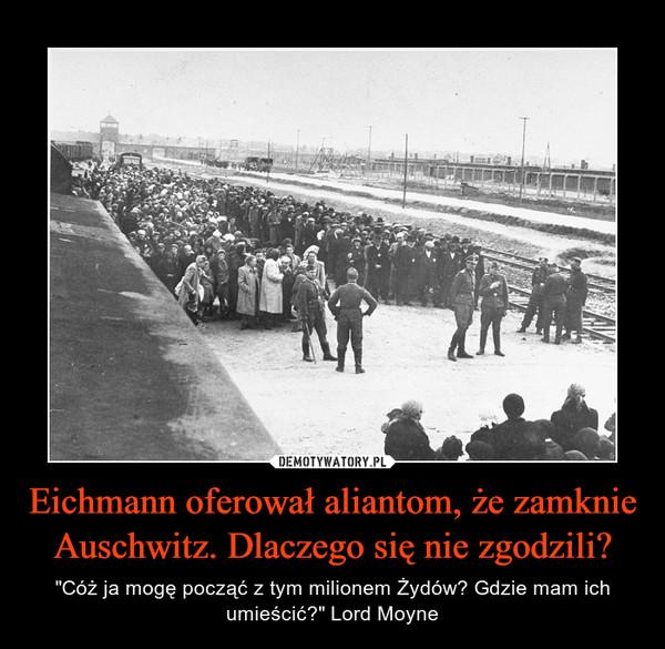 """Eichmann oferował aliantom, że zamknie Auschwitz. Dlaczego się nie zgodzili? – """"Cóż ja mogę począć z tym milionem Żydów? Gdzie mam ich umieścić?"""" Lord Moyne"""