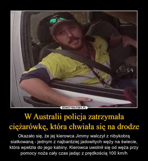 W Australii policja zatrzymała ciężarówkę, która chwiała się na drodze