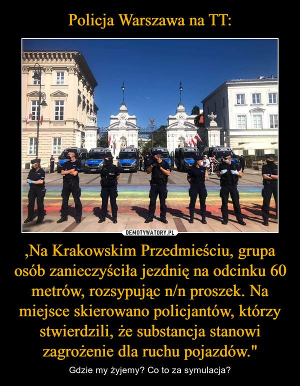 """,Na Krakowskim Przedmieściu, grupa osób zanieczyściła jezdnię na odcinku 60 metrów, rozsypując n/n proszek. Na miejsce skierowano policjantów, którzy stwierdzili, że substancja stanowi zagrożenie dla ruchu pojazdów."""" – Gdzie my żyjemy? Co to za symulacja?"""