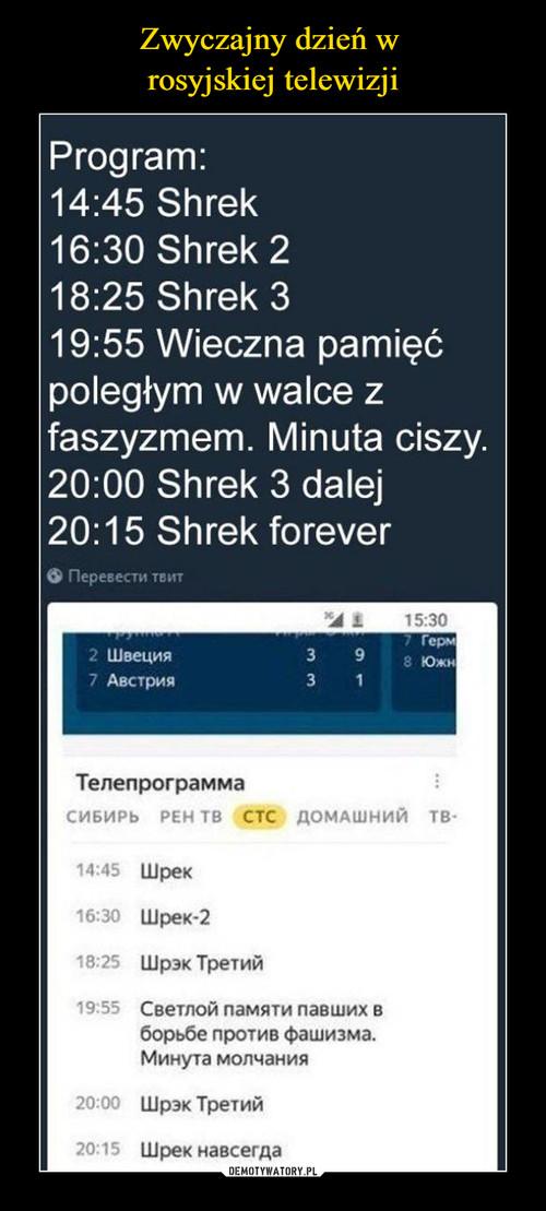 Zwyczajny dzień w  rosyjskiej telewizji