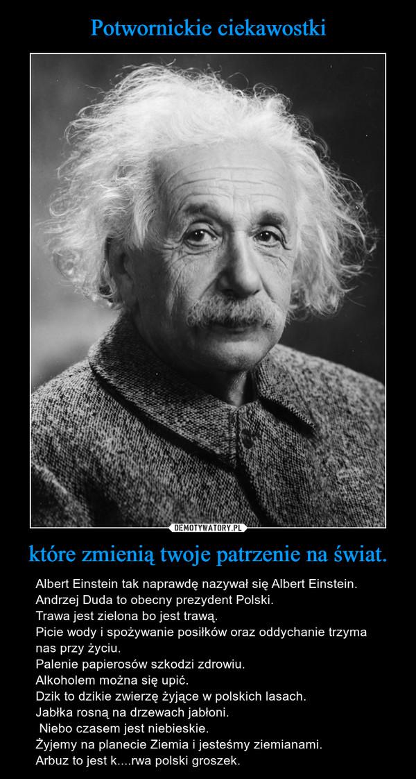 które zmienią twoje patrzenie na świat. – Albert Einstein tak naprawdę nazywał się Albert Einstein.Andrzej Duda to obecny prezydent Polski. Trawa jest zielona bo jest trawą.Picie wody i spożywanie posiłków oraz oddychanie trzyma nas przy życiu. Palenie papierosów szkodzi zdrowiu. Alkoholem można się upić. Dzik to dzikie zwierzę żyjące w polskich lasach.Jabłka rosną na drzewach jabłoni. Niebo czasem jest niebieskie. Żyjemy na planecie Ziemia i jesteśmy ziemianami. Arbuz to jest k....rwa polski groszek.