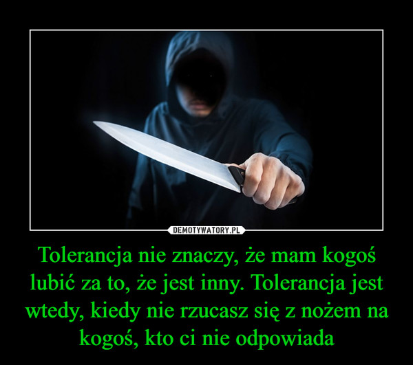 Tolerancja nie znaczy, że mam kogoś lubić za to, że jest inny. Tolerancja jest wtedy, kiedy nie rzucasz się z nożem na kogoś, kto ci nie odpowiada