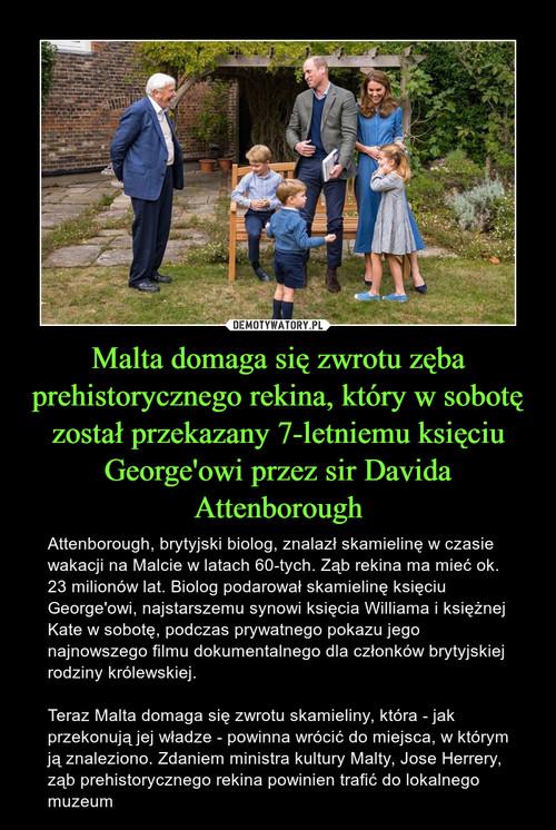 Malta domaga się zwrotu zęba prehistorycznego rekina, który w sobotę został przekazany 7-letniemu księciu George'owi przez sir Davida Attenborough