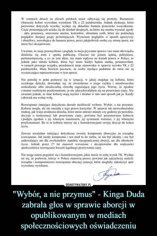"""""""Wybór, a nie przymus"""" - Kinga Duda zabrała głos w sprawie aborcji w opublikowanym w mediach społecznościowych oświadczeniu"""