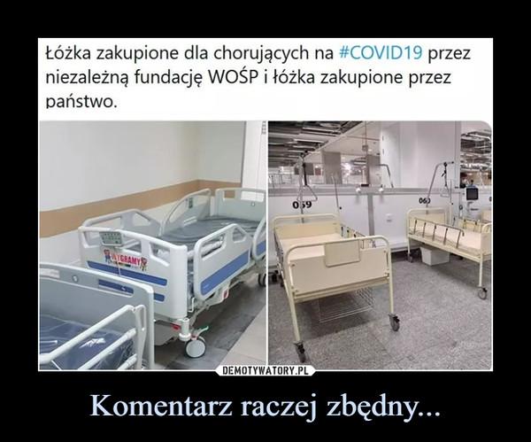 Komentarz raczej zbędny... –  Lóżka zakupione dla chorujących na #COVID19 przez niezależną fundację WOŚP i łóżka zakupione przez państwo.