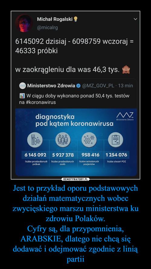 Jest to przykład oporu podstawowych działań matematycznych wobec zwycięskiego marszu ministerstwa ku zdrowiu Polaków. Cyfry są, dla przypomnienia, ARABSKIE, dlatego nie chcą się dodawać i odejmować zgodnie z linią partii