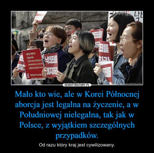 Mało kto wie, ale w Korei Północnej aborcja jest legalna na życzenie, a w Południowej nielegalna, tak jak w Polsce, z wyjątkiem szczególnych przypadków.