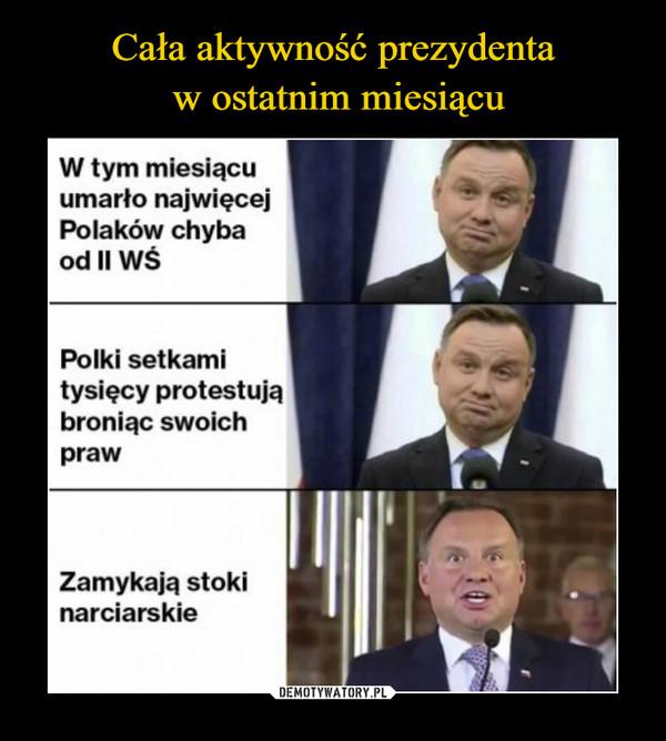 –  W tym miesiącu umarło najwięcej Polaków chyba od ll WŚ Polki setkami tysięcy protestują broniąc swoich praw Zamykają stoki narciarskie