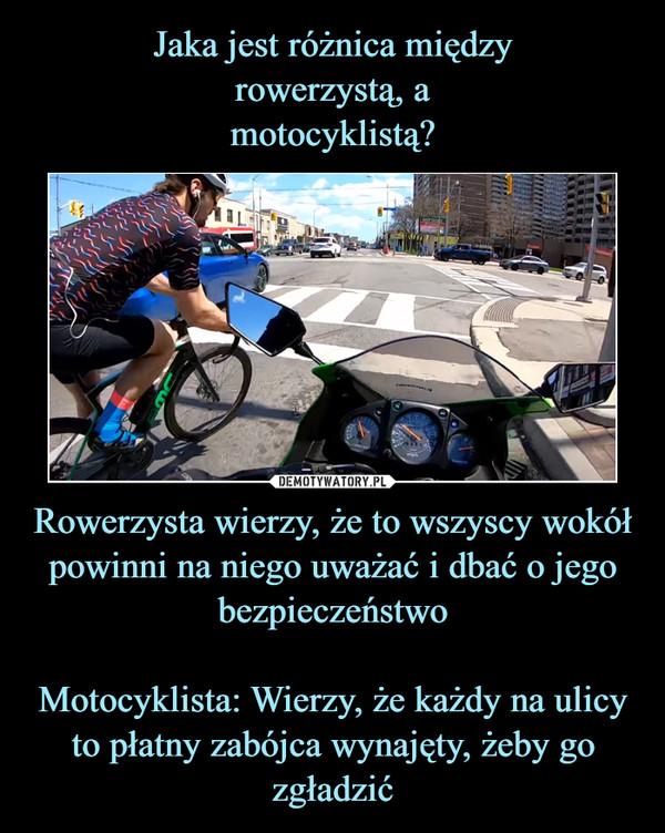 Rowerzysta wierzy, że to wszyscy wokół powinni na niego uważać i dbać o jego bezpieczeństwoMotocyklista: Wierzy, że każdy na ulicy to płatny zabójca wynajęty, żeby go zgładzić –
