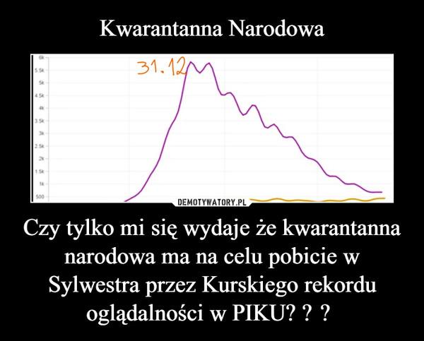 Czy tylko mi się wydaje że kwarantanna narodowa ma na celu pobicie w Sylwestra przez Kurskiego rekordu oglądalności w PIKU?  –