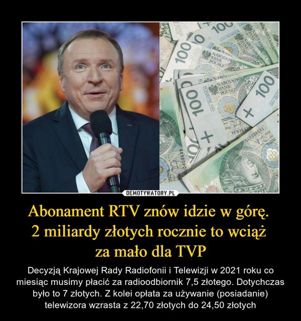Abonament RTV znów idzie w górę. 2 miliardy złotych rocznie to wciąż za mało dla TVP – Decyzją Krajowej Rady Radiofonii i Telewizji w 2021 roku co miesiąc musimy płacić za radioodbiornik 7,5 złotego. Dotychczas było to 7 złotych. Z kolei opłata za używanie (posiadanie) telewizora wzrasta z 22,70 złotych do 24,50 złotych