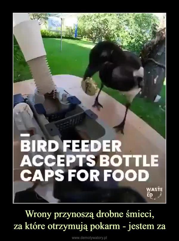 Wrony przynoszą drobne śmieci,za które otrzymują pokarm - jestem za –