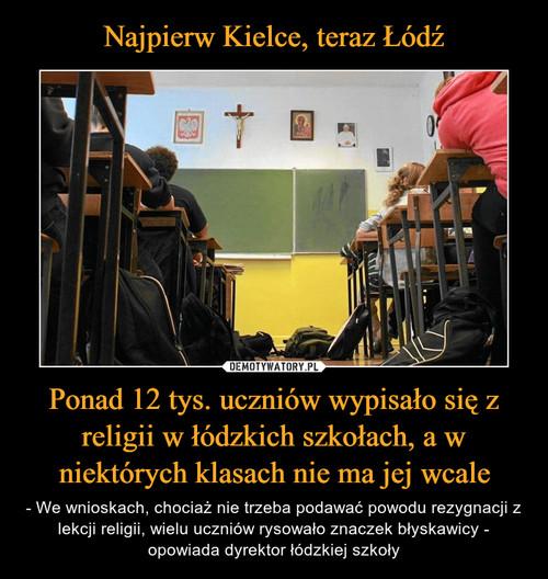 Najpierw Kielce, teraz Łódź Ponad 12 tys. uczniów wypisało się z religii w łódzkich szkołach, a w niektórych klasach nie ma jej wcale