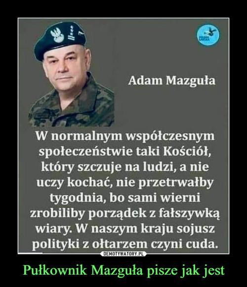 Pułkownik Mazguła pisze jak jest
