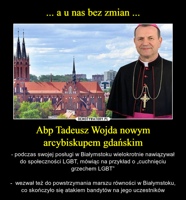 """Abp Tadeusz Wojda nowym arcybiskupem gdańskim – - podczas swojej posługi w Białymstoku wielokrotnie nawiązywał do społeczności LGBT, mówiąc na przykład o """"cuchnięciu grzechem LGBT""""-  wezwał też do powstrzymania marszu równości w Białymstoku, co skończyło się atakiem bandytów na jego uczestników"""