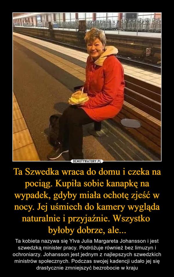 Ta Szwedka wraca do domu i czeka na pociąg. Kupiła sobie kanapkę na wypadek, gdyby miała ochotę zjeść w nocy. Jej uśmiech do kamery wygląda naturalnie i przyjaźnie. Wszystko byłoby dobrze, ale... – Ta kobieta nazywa się Ylva Julia Margareta Johansson i jest szwedzką minister pracy. Podróżuje również bez limuzyn i ochroniarzy. Johansson jest jednym z najlepszych szwedzkich ministrów społecznych. Podczas swojej kadencji udało jej się drastycznie zmniejszyć bezrobocie w kraju