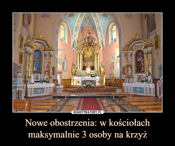 Nowe obostrzenia: w kościołach maksymalnie 3 osoby na krzyż –
