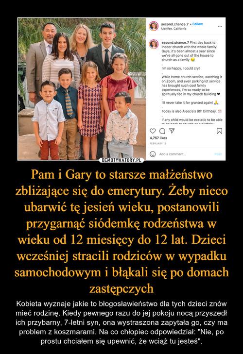 Pam i Gary to starsze małżeństwo zbliżające się do emerytury. Żeby nieco ubarwić tę jesień wieku, postanowili przygarnąć siódemkę rodzeństwa w wieku od 12 miesięcy do 12 lat. Dzieci wcześniej stracili rodziców w wypadku samochodowym i błąkali się po domach zastępczych