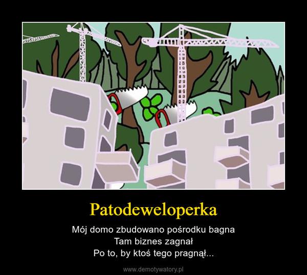 Patodeweloperka – Mój domo zbudowano pośrodku bagnaTam biznes zagnałPo to, by ktoś tego pragnął...